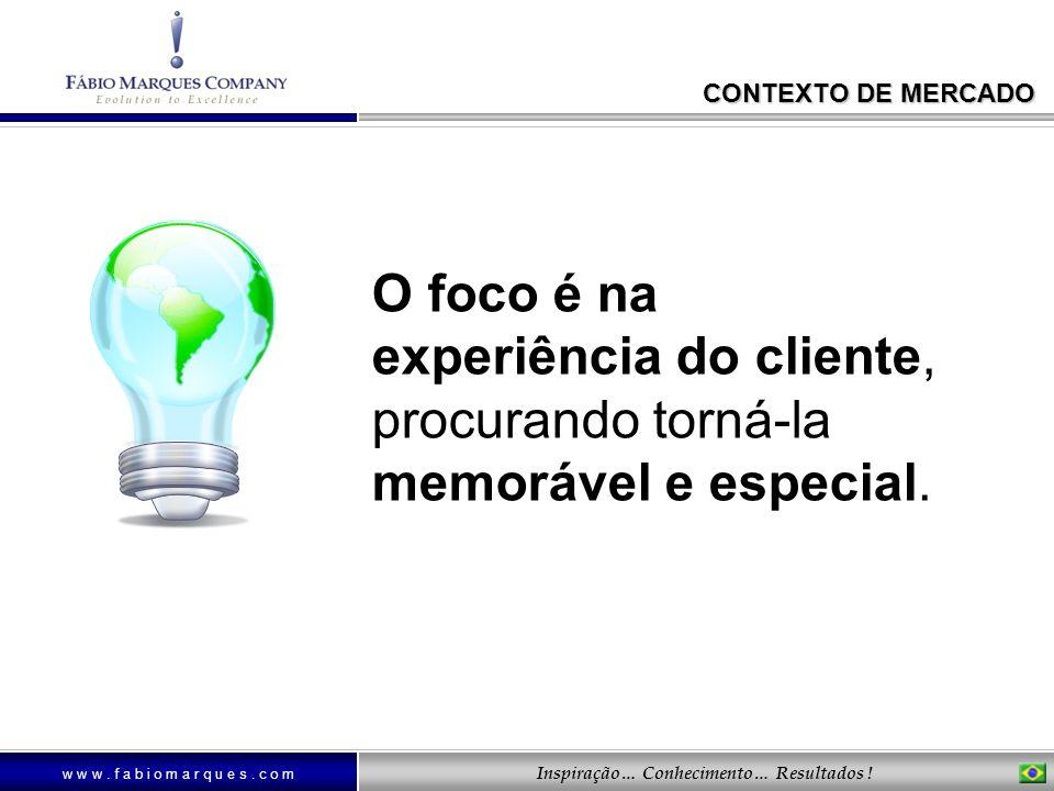 CONTEXTO DE MERCADO O foco é na experiência do cliente, procurando torná-la memorável e especial.