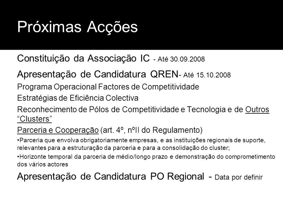 Próximas Acções Constituição da Associação IC - Até 30.09.2008