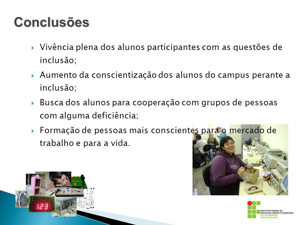 Conclusões Vivência plena dos alunos participantes com as questões de inclusão;