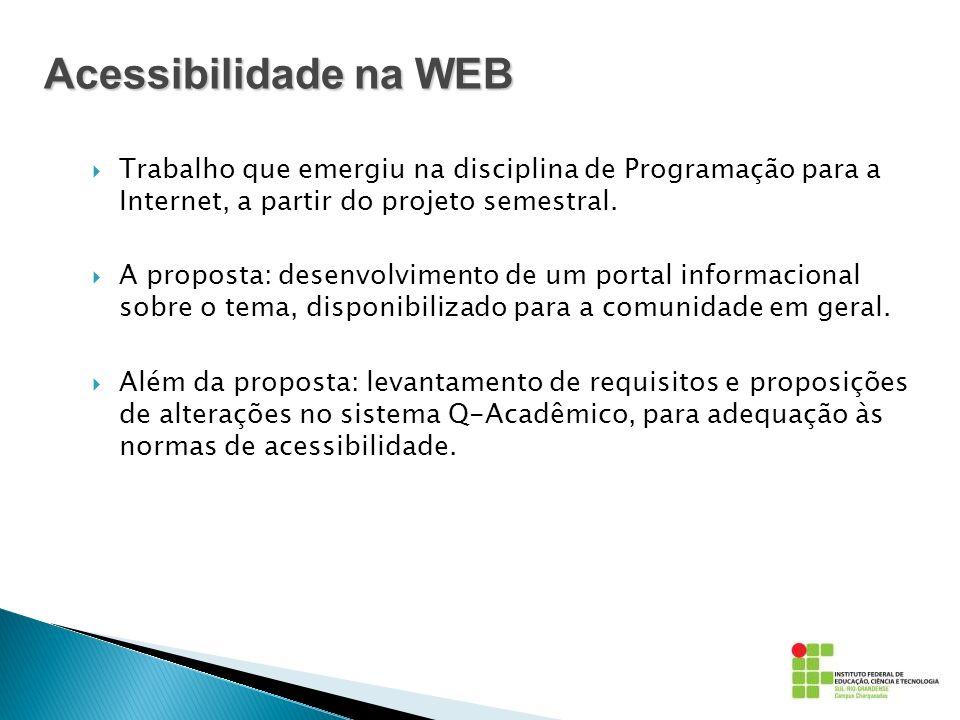 Acessibilidade na WEB Trabalho que emergiu na disciplina de Programação para a Internet, a partir do projeto semestral.