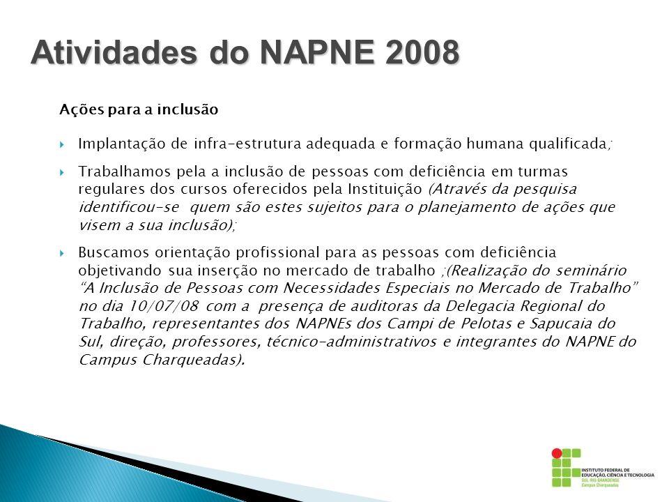 Atividades do NAPNE 2008 Ações para a inclusão