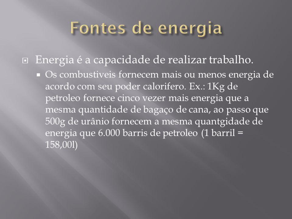 Fontes de energia Energia é a capacidade de realizar trabalho.