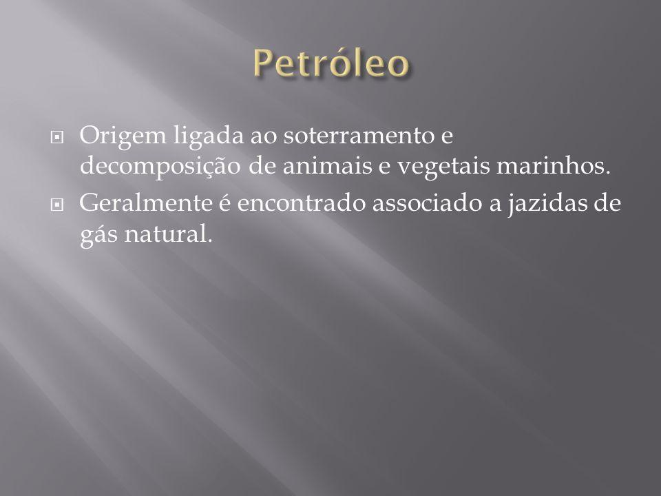 Petróleo Origem ligada ao soterramento e decomposição de animais e vegetais marinhos.