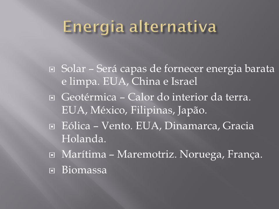 Energia alternativa Solar – Será capas de fornecer energia barata e limpa. EUA, China e Israel.