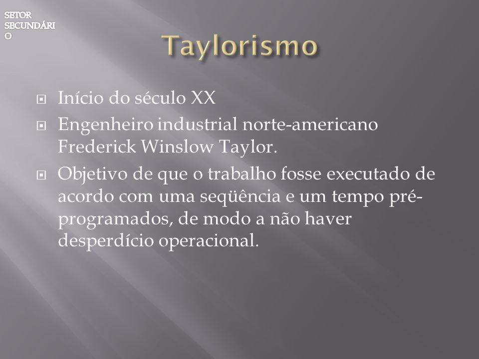 Taylorismo Início do século XX