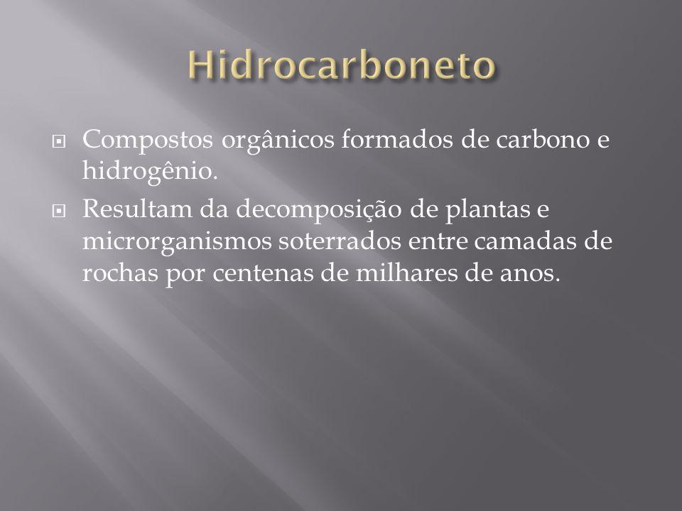 Hidrocarboneto Compostos orgânicos formados de carbono e hidrogênio.