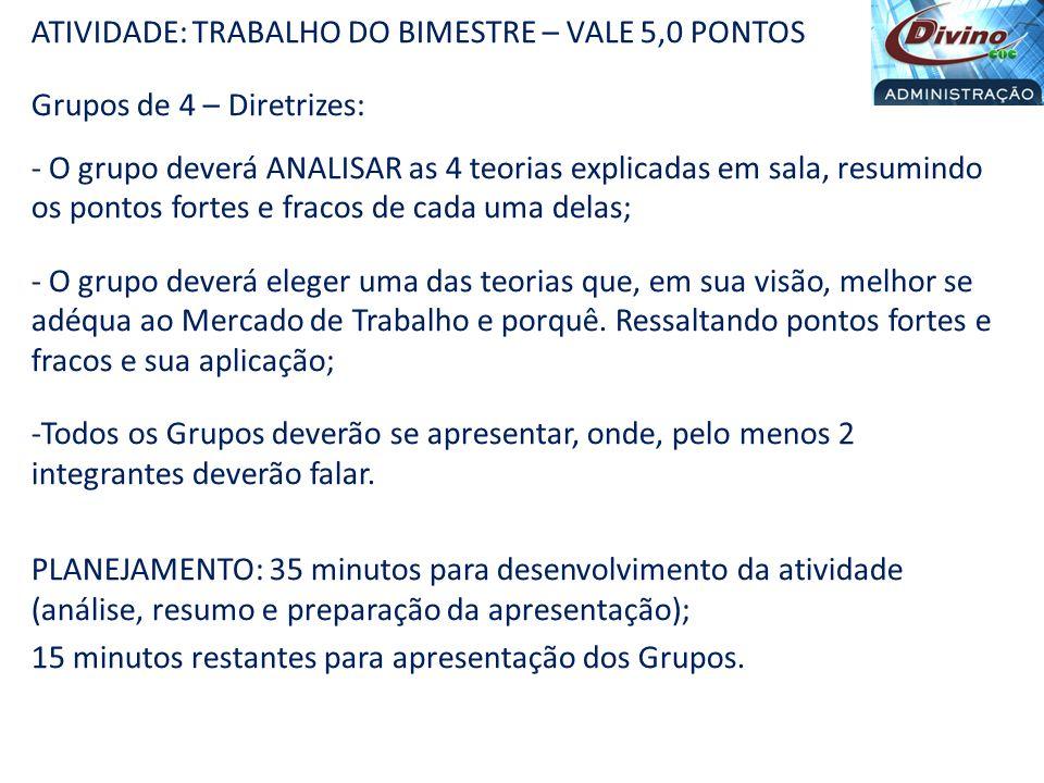 ATIVIDADE: TRABALHO DO BIMESTRE – VALE 5,0 PONTOS