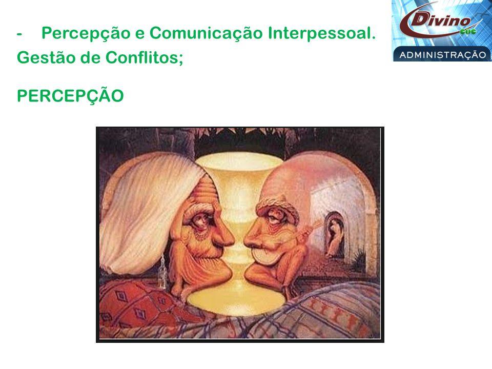 Percepção e Comunicação Interpessoal. Gestão de Conflitos; PERCEPÇÃO