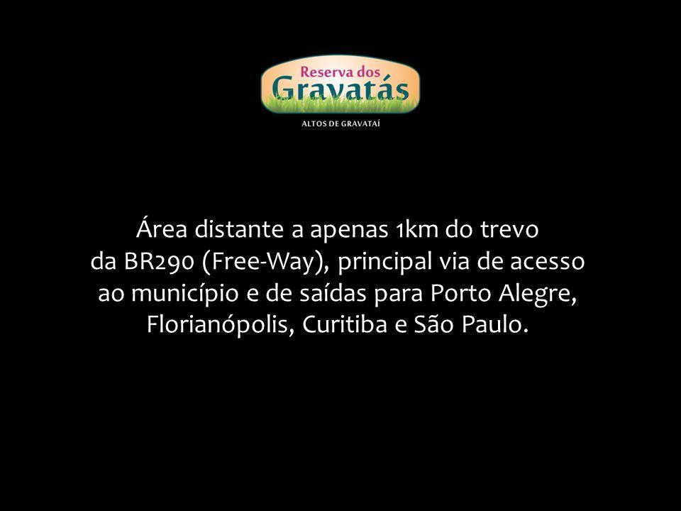 Área distante a apenas 1km do trevo da BR290 (Free-Way), principal via de acesso ao município e de saídas para Porto Alegre, Florianópolis, Curitiba e São Paulo.