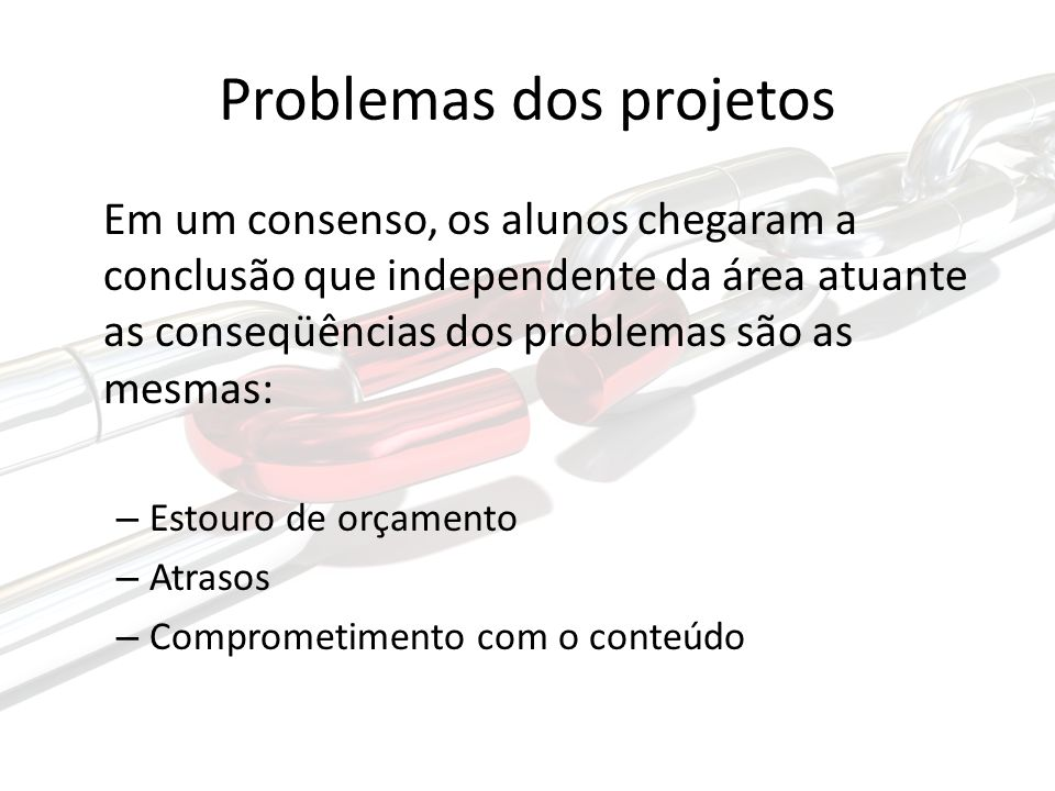 Problemas dos projetos