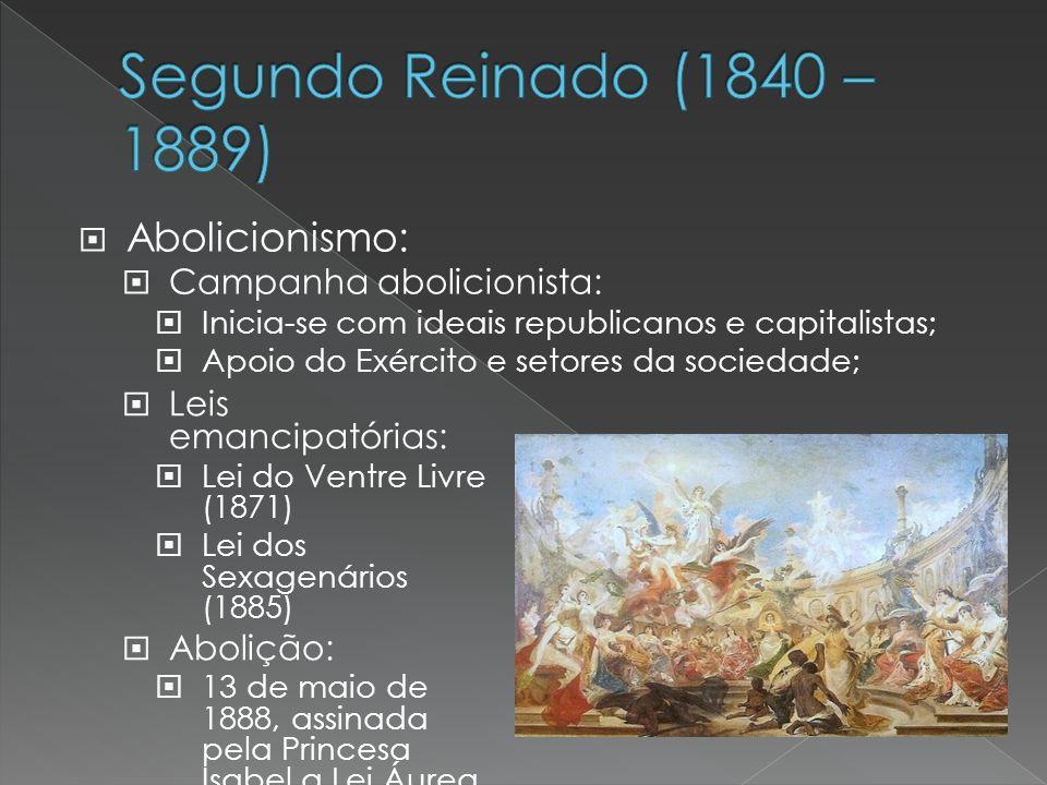 Segundo Reinado (1840 – 1889) Abolicionismo: Campanha abolicionista: