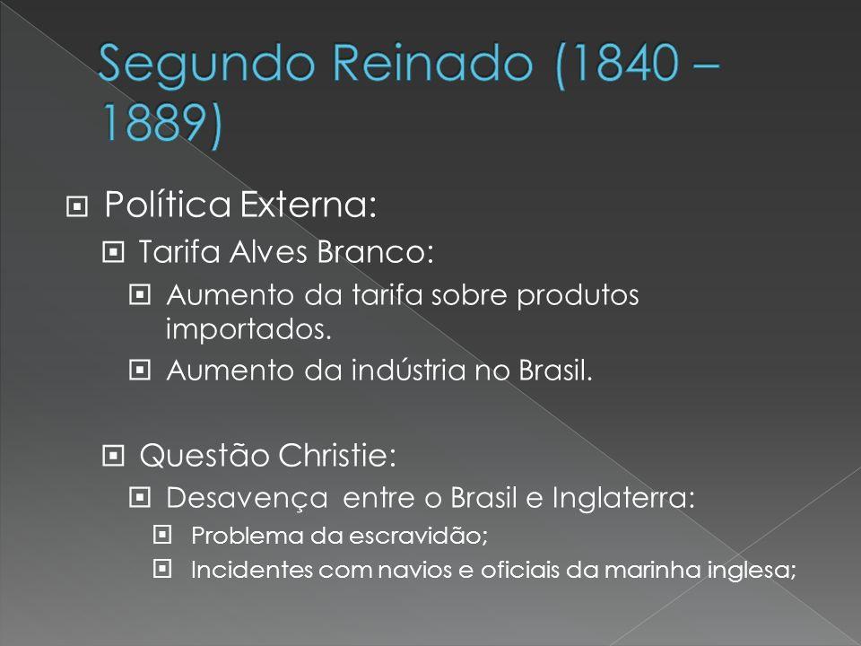 Segundo Reinado (1840 – 1889) Política Externa: Tarifa Alves Branco: