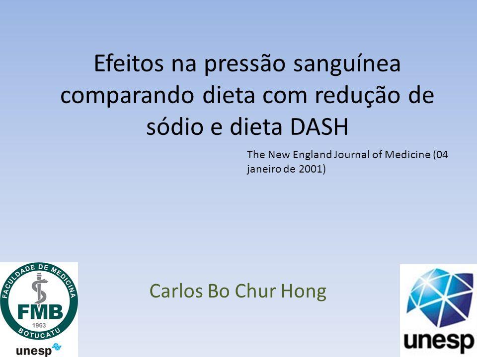 Efeitos na pressão sanguínea comparando dieta com redução de sódio e dieta DASH