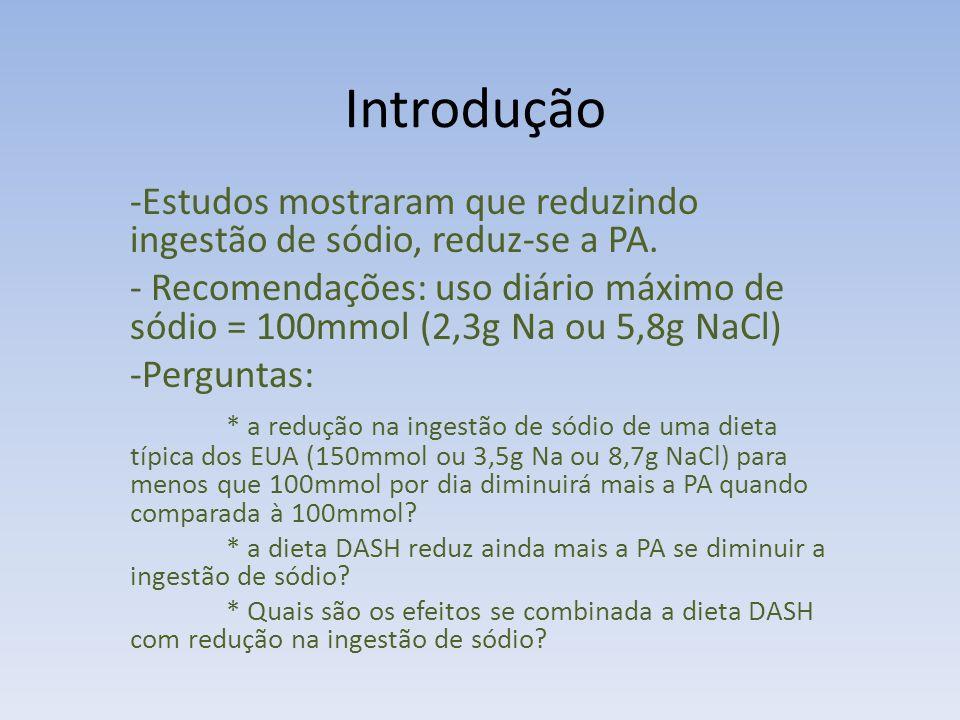 Introdução Estudos mostraram que reduzindo ingestão de sódio, reduz-se a PA.