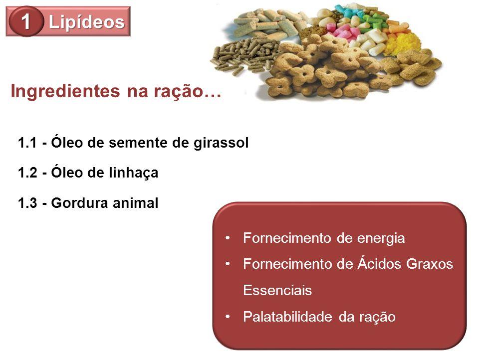 1 Lipídeos Ingredientes na ração… 1.1 - Óleo de semente de girassol