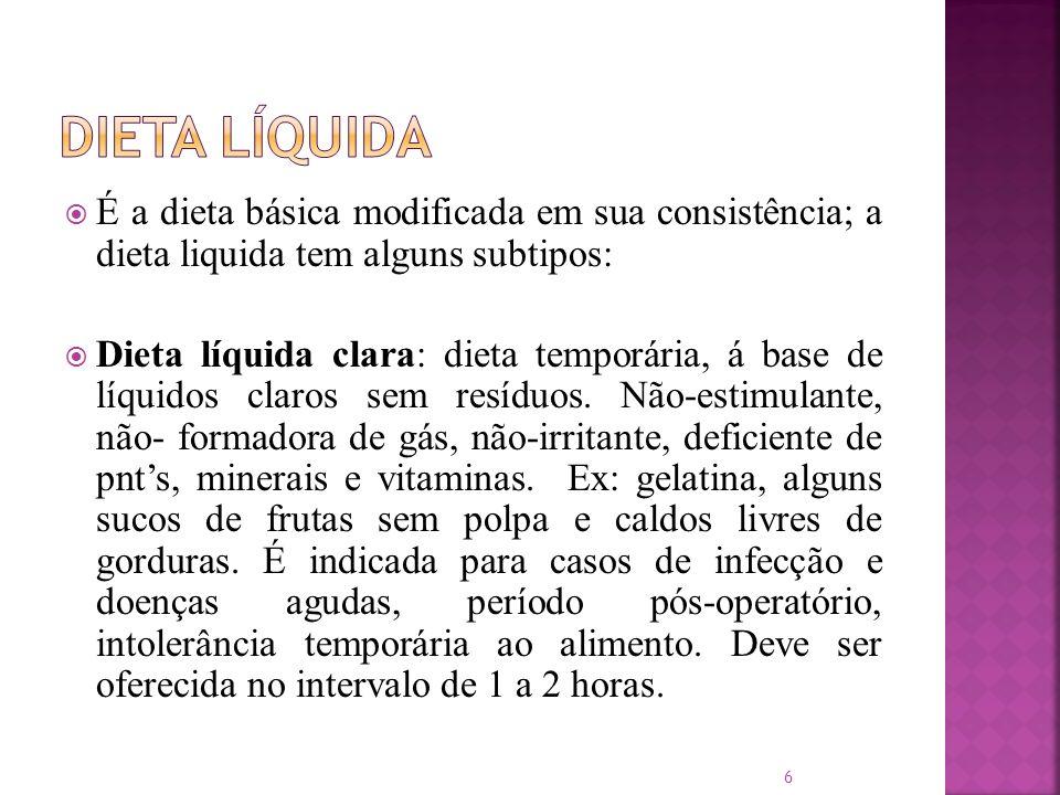 Dieta Líquida É a dieta básica modificada em sua consistência; a dieta liquida tem alguns subtipos: