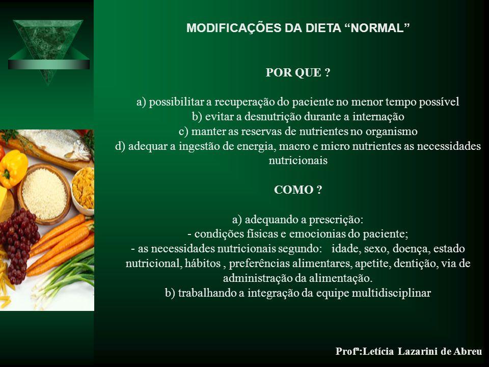 MODIFICAÇÕES DA DIETA NORMAL