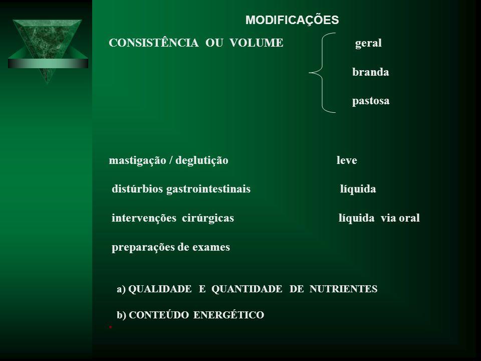 CONSISTÊNCIA OU VOLUME geral branda pastosa