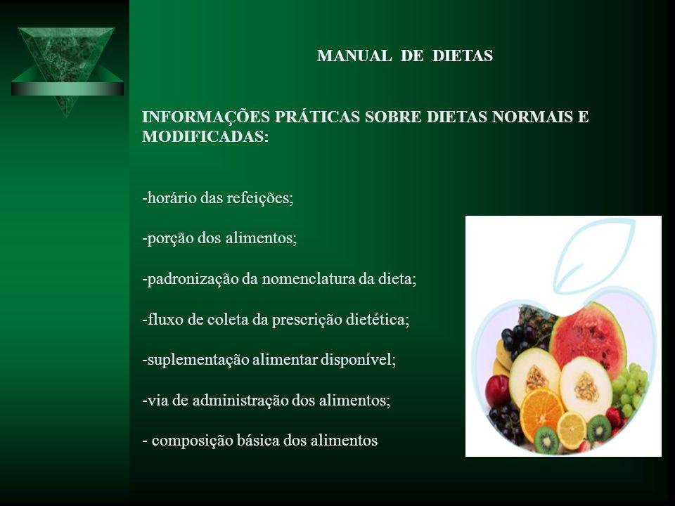 MANUAL DE DIETAS INFORMAÇÕES PRÁTICAS SOBRE DIETAS NORMAIS E MODIFICADAS: horário das refeições;