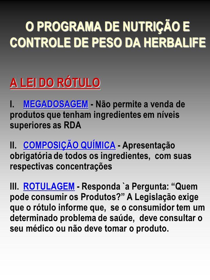 O PROGRAMA DE NUTRIÇÃO E CONTROLE DE PESO DA HERBALIFE