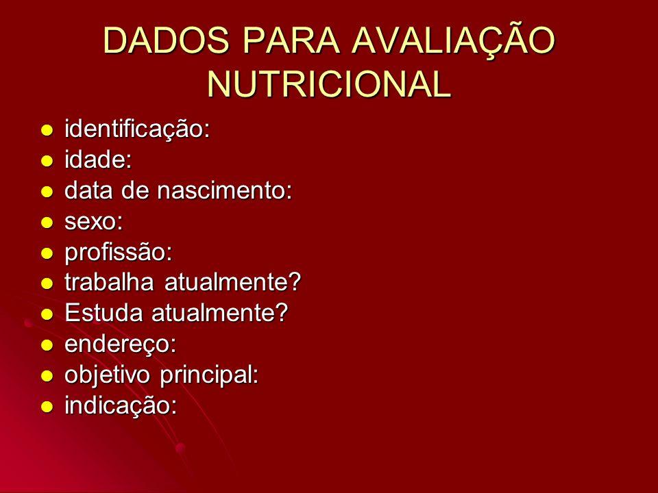 DADOS PARA AVALIAÇÃO NUTRICIONAL