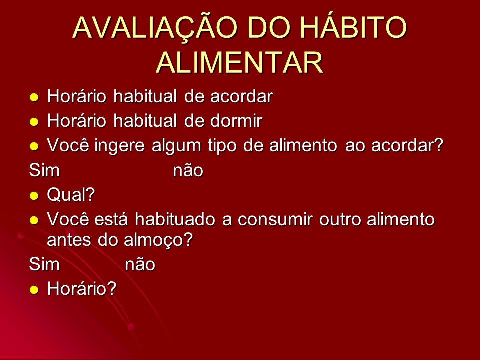 AVALIAÇÃO DO HÁBITO ALIMENTAR