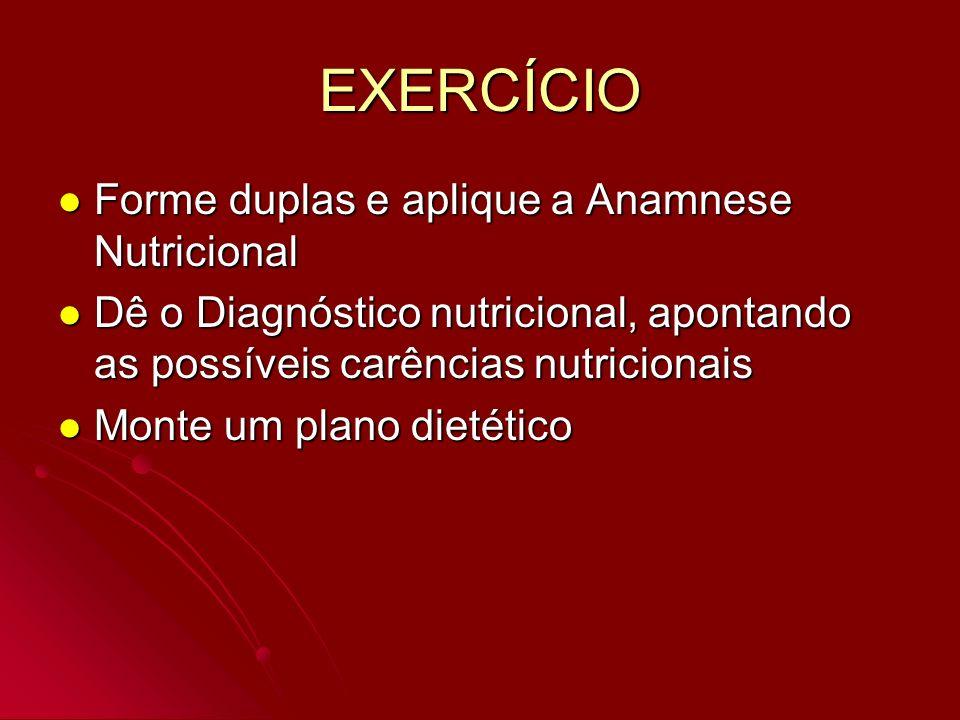 EXERCÍCIO Forme duplas e aplique a Anamnese Nutricional