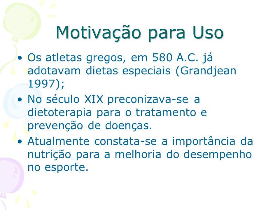 Motivação para Uso Os atletas gregos, em 580 A.C. já adotavam dietas especiais (Grandjean 1997);