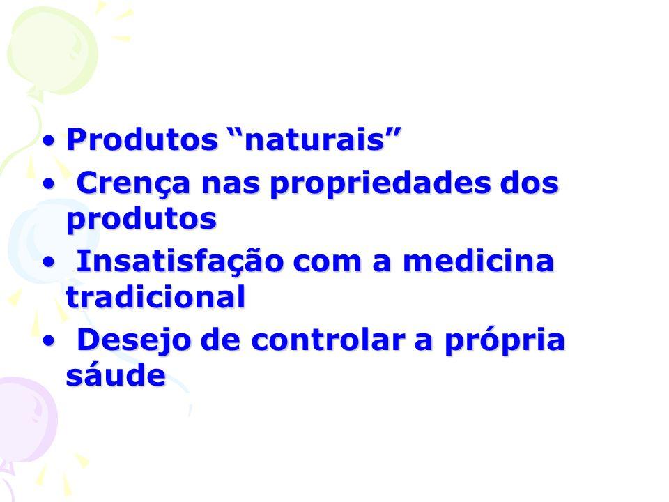 Produtos naturais Crença nas propriedades dos produtos. Insatisfação com a medicina tradicional.