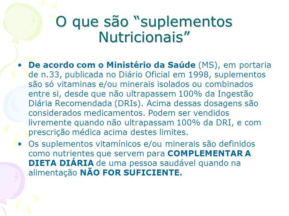 O que são suplementos Nutricionais
