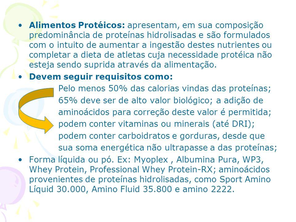 Alimentos Protéicos: apresentam, em sua composição predominância de proteínas hidrolisadas e são formulados com o intuito de aumentar a ingestão destes nutrientes ou completar a dieta de atletas cuja necessidade protéica não esteja sendo suprida através da alimentação.
