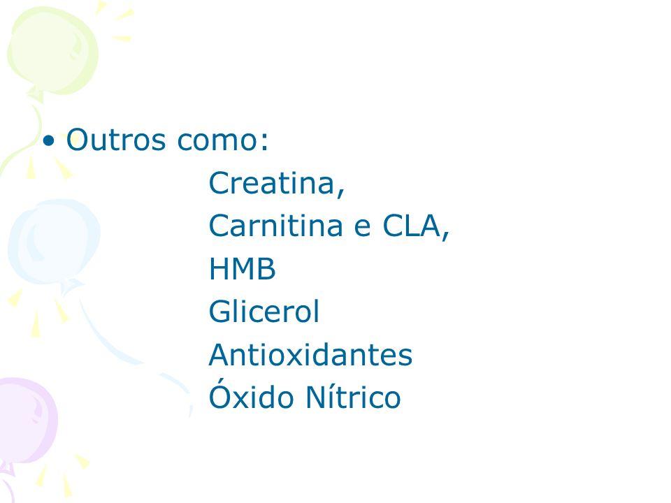 Outros como: Creatina, Carnitina e CLA, HMB Glicerol Antioxidantes Óxido Nítrico
