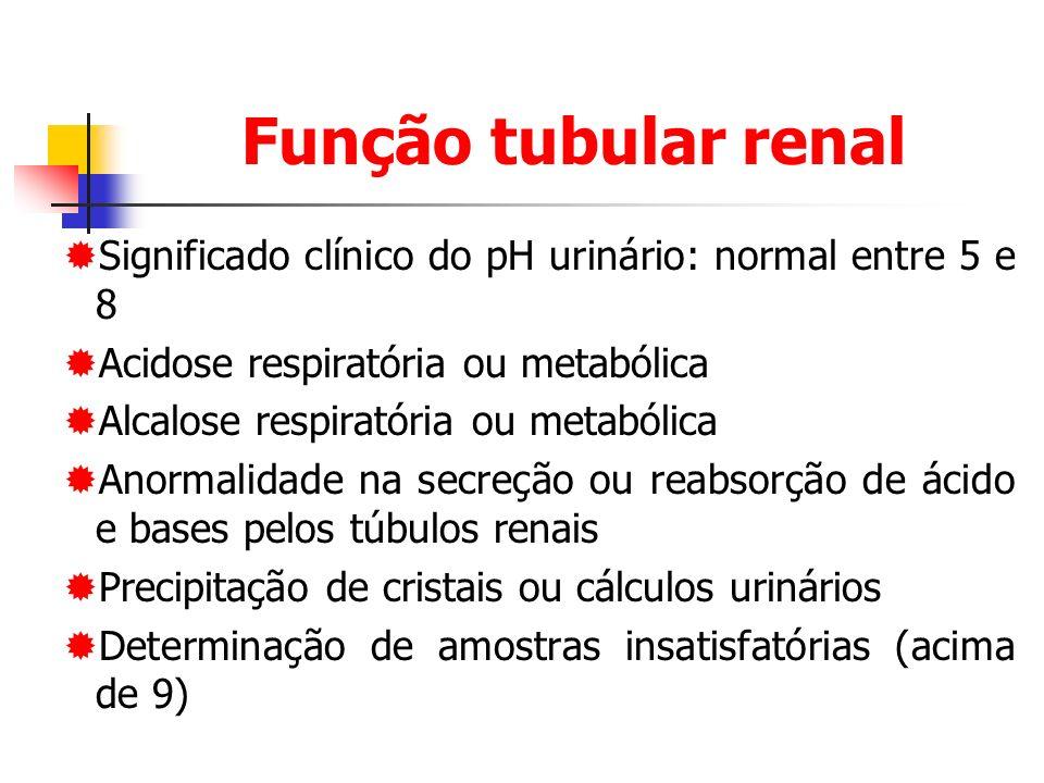 Função tubular renal Significado clínico do pH urinário: normal entre 5 e 8. Acidose respiratória ou metabólica.