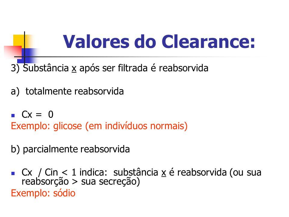 Valores do Clearance: 3) Substância x após ser filtrada é reabsorvida