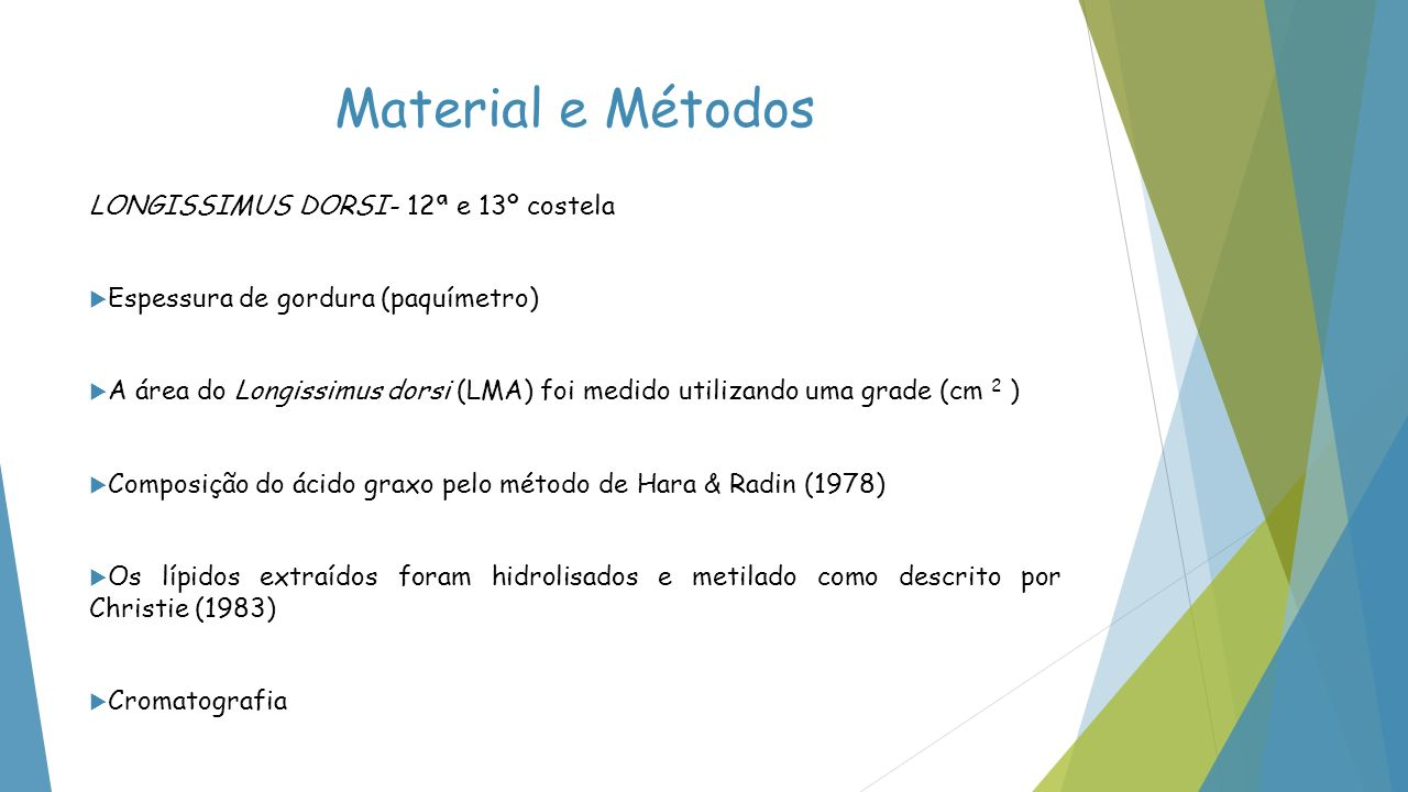 Material e Métodos LONGISSIMUS DORSI- 12ª e 13º costela