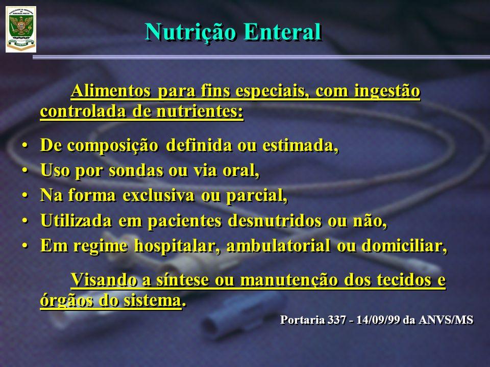 Nutrição Enteral De composição definida ou estimada,