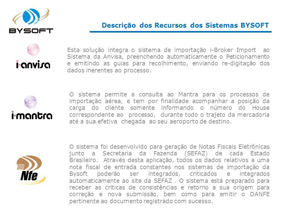 Descrição dos Recursos dos Sistemas BYSOFT
