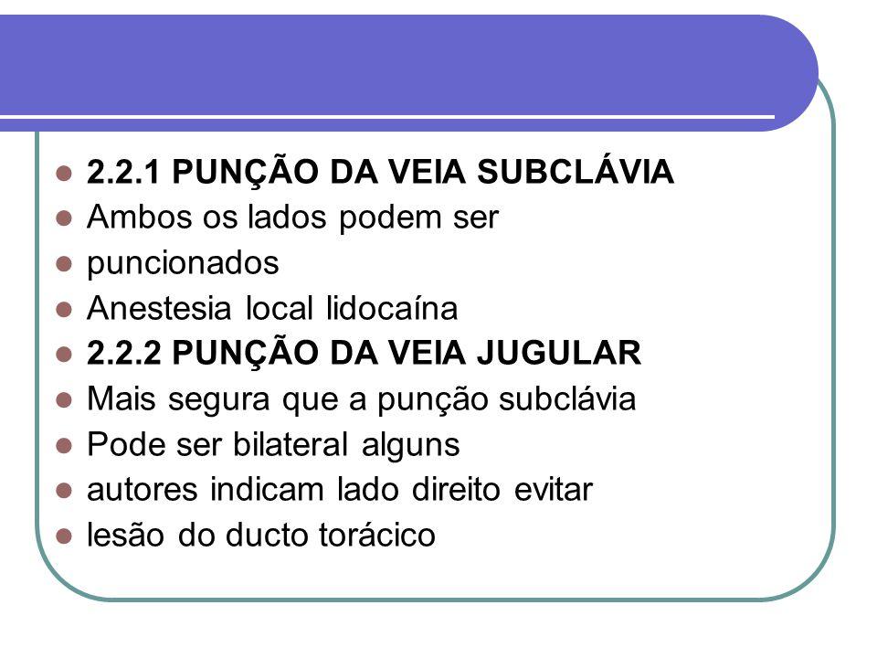 2.2.1 PUNÇÃO DA VEIA SUBCLÁVIA