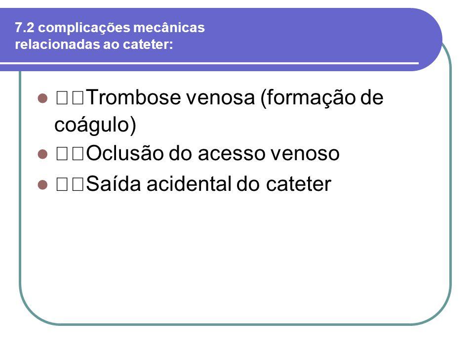 7.2 complicações mecânicas relacionadas ao cateter: