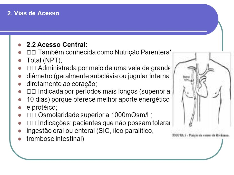  Também conhecida como Nutrição Parenteral Total (NPT);