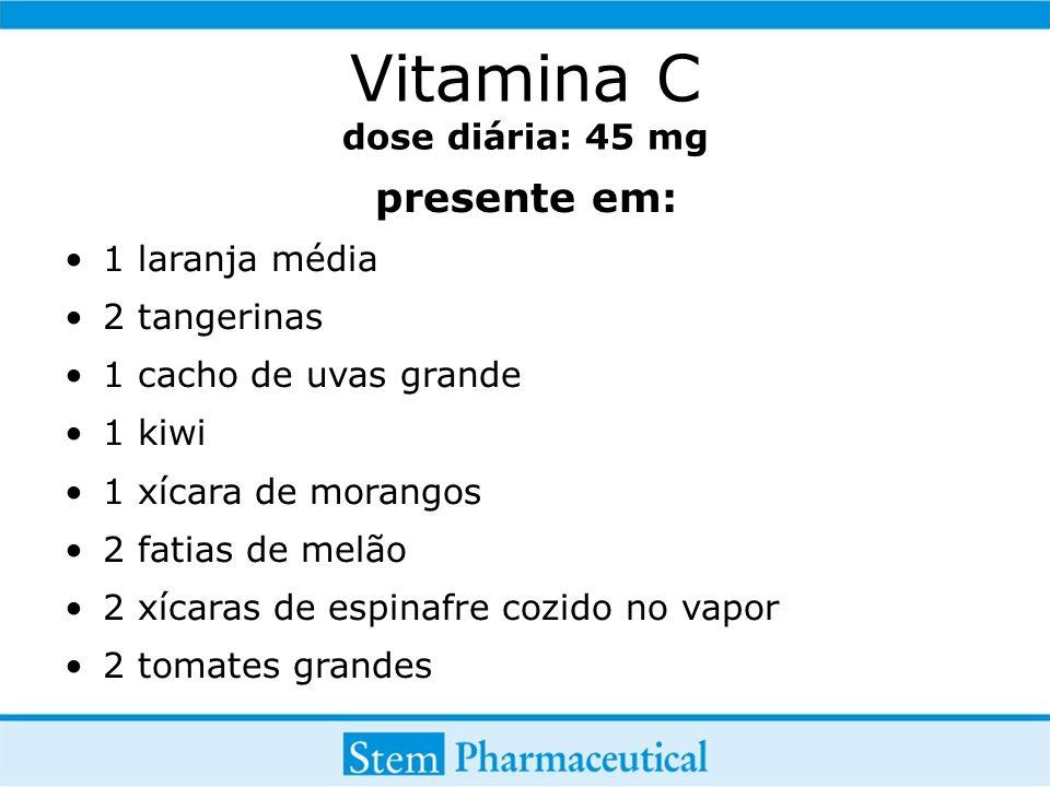 Vitamina C dose diária: 45 mg