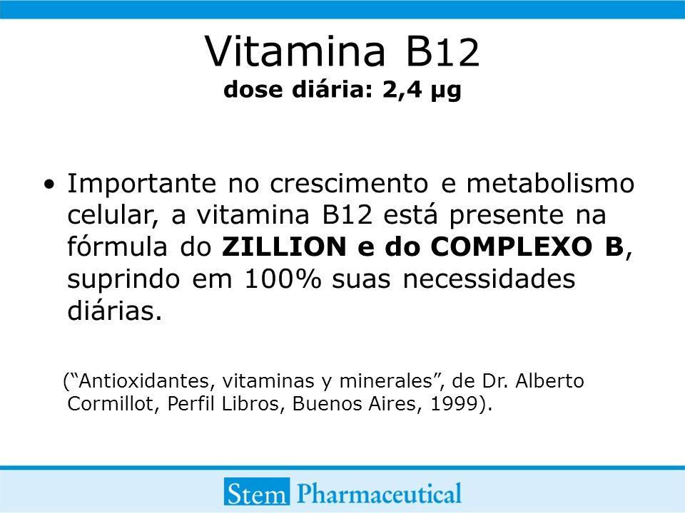 Vitamina B12 dose diária: 2,4 µg
