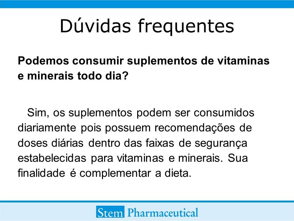 Dúvidas frequentes Podemos consumir suplementos de vitaminas e minerais todo dia