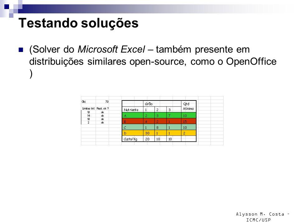 Testando soluções (Solver do Microsoft Excel – também presente em distribuições similares open-source, como o OpenOffice )