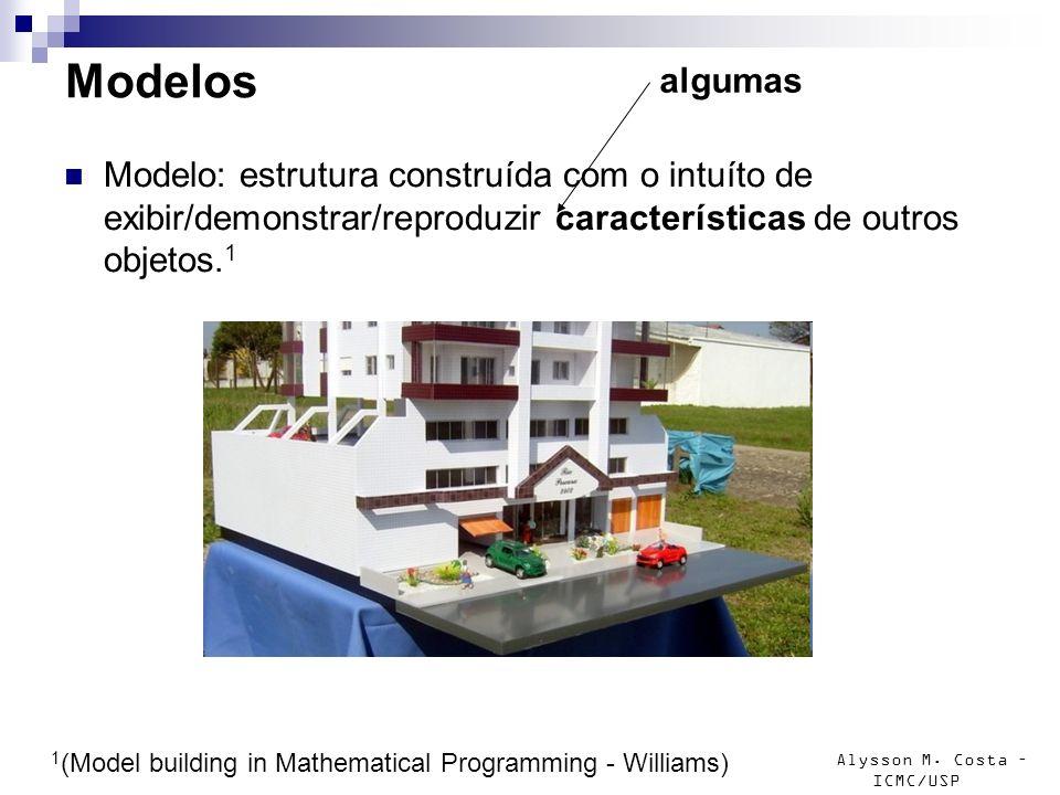 Modelos algumas. Modelo: estrutura construída com o intuíto de exibir/demonstrar/reproduzir características de outros objetos.1.
