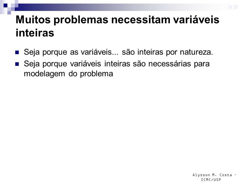 Muitos problemas necessitam variáveis inteiras