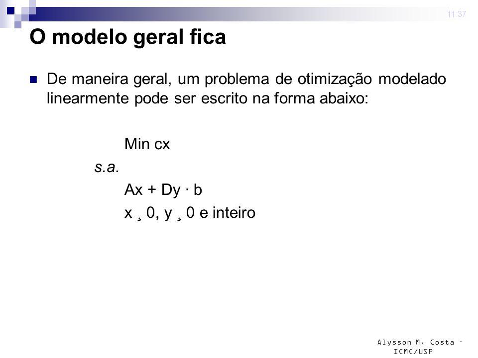 4 mar 2009 . 11:37 O modelo geral fica. De maneira geral, um problema de otimização modelado linearmente pode ser escrito na forma abaixo: