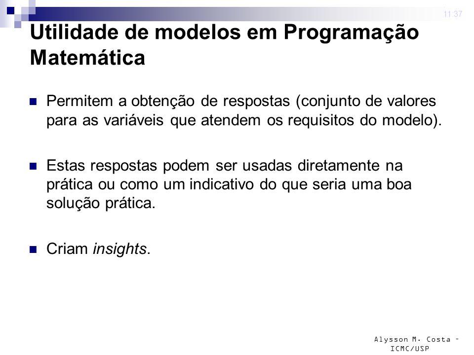 Utilidade de modelos em Programação Matemática