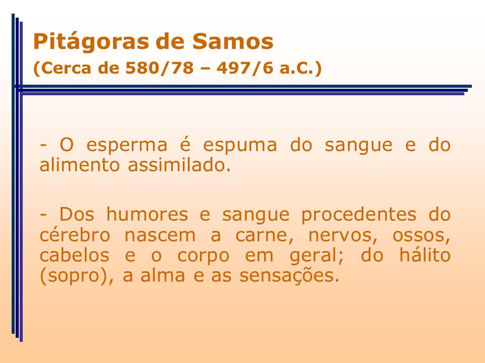 Pitágoras de Samos (Cerca de 580/78 – 497/6 a.C.) - O esperma é espuma do sangue e do alimento assimilado.