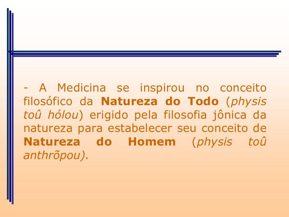 - A Medicina se inspirou no conceito filosófico da Natureza do Todo (physis toû hólou) erigido pela filosofia jônica da natureza para estabelecer seu conceito de Natureza do Homem (physis toû anthrõpou).